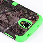 myLife Bright Green - Brown Tree Camouflage Design (3 Piece Hybrid) Hard and Soft Case for the Samsung Galaxy S4 Fits Models: I9500, I9505, SPH-L720, Galaxy S IV, SGH-I337, SCH-I545, SGH-M919, SCH-R970 and Galaxy S4 LTE-A Touch Phone (Fitted Front and Back Solid Cover Case + Internal Silicone Gel Rubberized Tough Armor Skin)