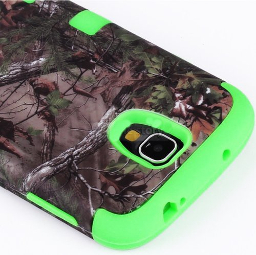 "Mylife Bright Green - Brown Tree Camouflage Design (3 Piece Hybrid) Hard And Soft Case For The Samsung Galaxy S4 ""Fits Models: I9500, I9505, Sph-L720, Galaxy S Iv, Sgh-I337, Sch-I545, Sgh-M919, Sch-R970 And Galaxy S4 Lte-A Touch Phone"" (Fitted Front And B"