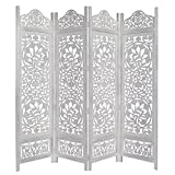 Kamal - The Lotus - Antique White - 4-Panel Handcrafted Wooden Room Divider Screen - Size: 72 inches tall by 80 inches wide - Intricate detail with carving on both sides of the screen making it fully reversible, highly versatile - It hides clutter, adds décor, and divides the room - Now with Reinforced Packaging
