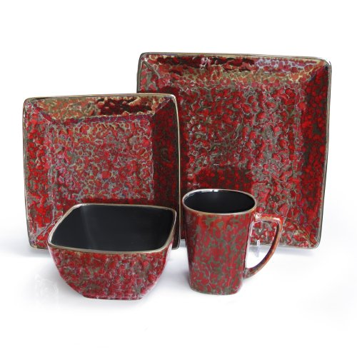 American Atelier Mojave Square 16-Piece Dinnerware Set, Red