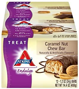 Atkins Endulge Bars, Caramel Nut Chew, 1.2-Ounce Bars, 12 Count