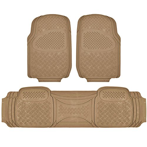 BDK MaxDuty Rubber Floor Mat for Car, SUV,Van & Truck - Super Heavy Duty Rubber , Trim to Fit & 3 Piece (Beige) (Car Mats Rav4 compare prices)