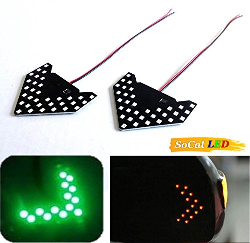 Socal-Led 2Pcs Green Car Signal Bulbs 1210 33 Smd Led Panel, Ultra Slim Arrow Sign, Side Mirror Indicator Turn Signal Lamp, Sequential Flashing