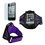 Premium Purple Sport mesh Armband + cLear screen Protector for Apple iphone 4G 4S 8GB 16GB 32GB