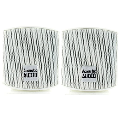 Acoustic Audio Aa321W Surround Speakers, White, Set Of 2