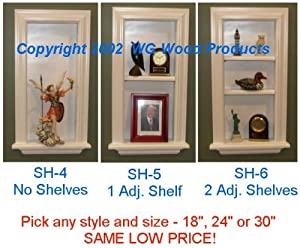 "(SH-4-6) Recessed In-Wall Standard Niche Display Shelf, Solid Wood, your choice of 0,1 or 2 shelves, 18"", 24"" or 30"" high, Enamel finish"