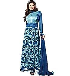 INDIA FASHION SHOP WOMENS BLUE PRINTED GEORGETTE DRESS