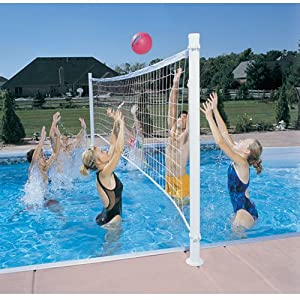 Dunnrite Deckvolly Swimming Pool Volleyball Set With Aluminum Anchors Volleyball
