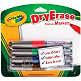 Crayola Chisel Tip Dry Erase Markers, Assorted Colors, 4 count (98-8626)