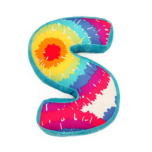 "One Grace Place Terrific Tie Dye Letter Pillow ""S"", Aqua Blue, Royal Blue, Purple, Yellow, Green, Orange, Pink, Red And White front-62473"