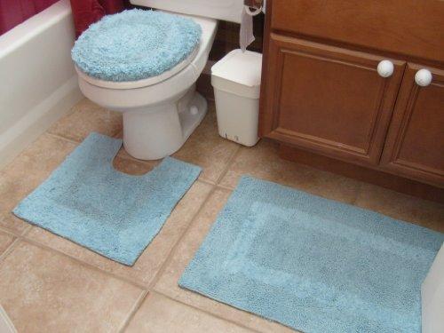 3pcs 100 Cotton Bath Bathroom Mat Rug Toilet Lid Cover Set Light Blue Color Made In