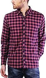 PRIKNIT Men's Cotton Shirt (AF-S1-NAVYR, Navy Blue Checks, 40)