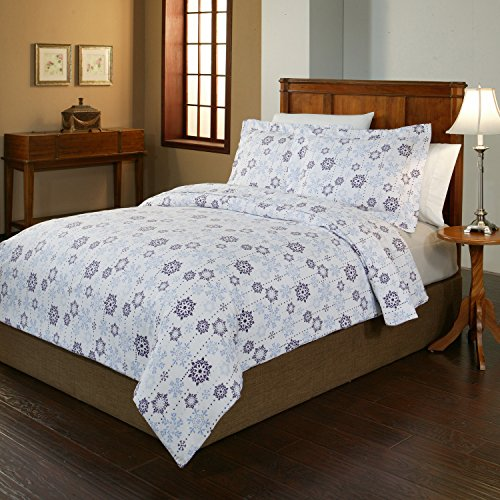 Pointehaven 2-Piece 200 GSM Flannel Duvet Cover Set, Twin/Twin X-Large, Printed, Snow Drop (Flannel Duvet Cover Twin compare prices)