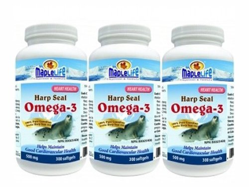 Harp Seal Oil Omega-3 500Mg 300Softgels X 3(3 Bottles)