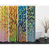 Four Seasons Tree of Life Pop Art Prints Nature Modern Stylish Valentines Day Bathroom Decorations Digital Print Polyester Fabric Shower Curtain