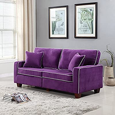 Divano Roma Furniture Collection - Modern Two Tone Velvet Fabric Living Room Love Seat Sofa