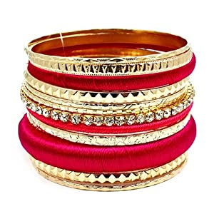 Gorgeous Gold with Clear Crystal Rhinestones Fuchsia Pink Multi Strand Bangles Bracelet Set Fashion Jewelry