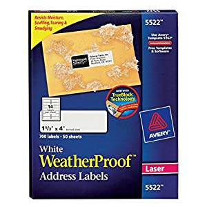 Avery Weatherproof Mailing Labels - Laser Printer, 50 Sheets  (5522)