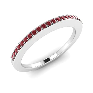 0.15ct Round Ruby Ring in 14k White Gold Wedding Band Ring For Women's (I)