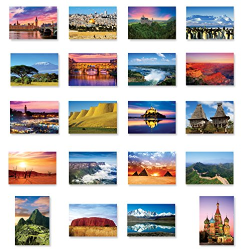 THE WORLD postcard set of 20. Post card variety pack of various countries views postcards. Made in USA. (World Postcards compare prices)