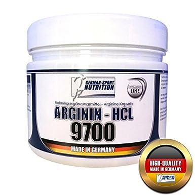 German Sport Nutrition, Arginin 9700 - HCL, 400 Kapseln L-Arginin hochdosiert 2-3 Monatskur, Deutsche Qualität
