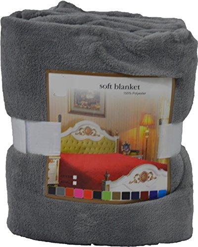 Fancy Collection Luxury Micro-Fleece Ultra Plush Solid Blanket (Queen, Grey) front-725407