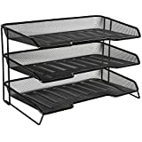 Rolodex Mesh Collection 3-Tiered Desk Tray, Black (1742325)