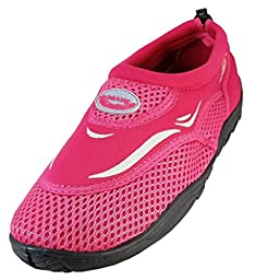 WavePro Women\'s Water Shoes with Elastic Mesh and Soft Removable Insole, Fuchsia, Size 5 (M) US
