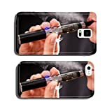 Woman smoking with electronic cigarette cell phone cover case iPhone6