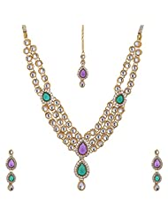 Lucky Jewellery Purple And Green Gold Plated Kundan Jewellery Set For Women