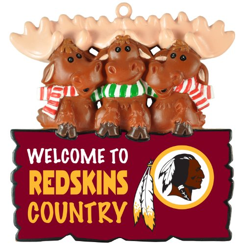 """NFL Washington Redskins""""Welcome to Redskins Country"""" Hanging Moose Ornament (Appx 3.5″)"""