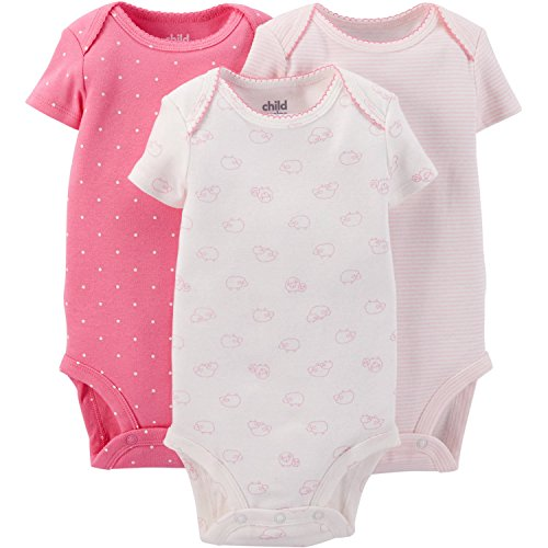 Child Of Mine Made By Carter's Baby Girls' Short Sleeve Bodysuits (6-12 Months)