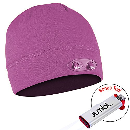Ultra Bright 4 Led Hands Free Unisex Lighted Beanie Powercap - 48 Lumens Of Perfect Hands Free Flashlight For Hunting, Camping, Grilling, Jogging, Walking, Or Handyman Working, Auto Repair, Easy On/Off Switch Hidden In The Band - With Bonus Jumbl Handyman