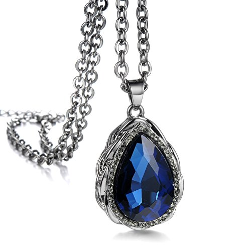 CC Kimico™ Sapphire Stainless Steel Pendant Diamond Tone Sweater Long Chain Necklace