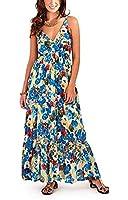 Pistachio, Ladies Poppy Floral Cotton Strappy Maxi Dress, Blue, Red