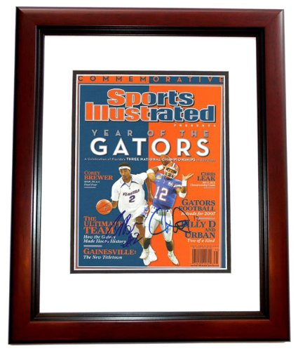 2006 Florida Gators Championship MVP's Corey Brewer and Chris Leak Dual Autographed / Hand Signed Commemorative Sports Illustrated - MAHOGANY CUSTOM FRAME chris leak autographed hand signed florida gators 8x10 national championship trophy photo black custom frame with 06 champs inscription