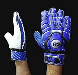 Blue Adult Football Player Goalkeeper Goalie Finger Save Wrap Gloves Size 8 9 10 (8)