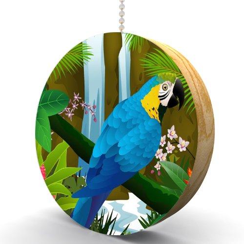 Waterfall Parrot Hardwood Oak Fan / Light Pull front-1055722