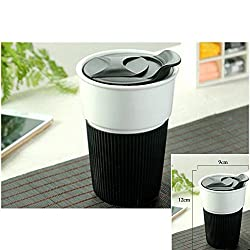 New Outdoor Sport Non Slip Ceramic Instant Coffee Mug Cups Burn Proof Insulation 350ML Capacity for Milk Tea Coffee Black 350ML