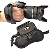 First2savvv OSH0402 Professional Wrist Grip black genuine leather hand Strap for Canon EOS 450D