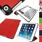 IGadgitz Red PU Leather with Hard Back 'Cover Mate Plus' Case for Apple iPad Mini 1st Generation 2012 & New iPad Mini 2nd Generation with Retina Display (launched October 2013) 16GB 32GB 64GB 128GB Wi-Fi & Cellular. With Sleep/Wake Function + Screen Prot