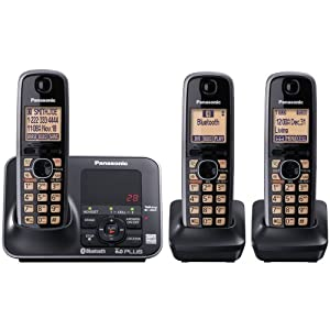 Panasonic KX-TG7623B DECT 6.0 Link-to-Cell via Bluetooth Cordless Phone, Black, 3 Handsets $63.00
