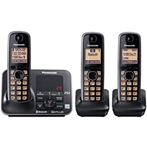 Panasonic KX-TG7623B DECT 6.0 Link-to-Cell via Bluetooth Cordless Phone, Black, 3 Handsets