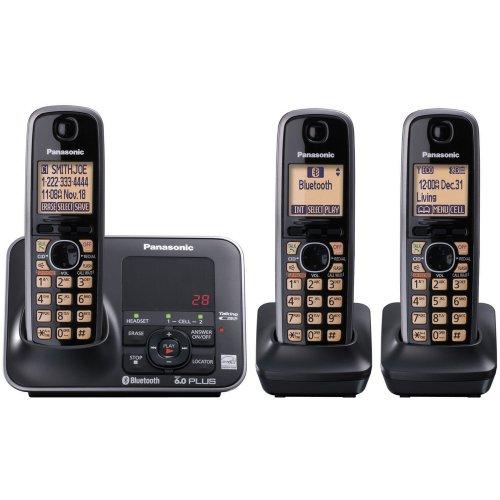 Panasonic Kx-Tg7623B Dect 6.0 Link-To-Cell Via Bluetooth Cordless Phone, Black, 3 Handsets