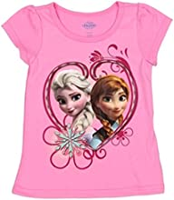 LICENSED DISNEY FROZEN Toddlers  Little Girls Ana and Elsa Pink Tee 2T-4T