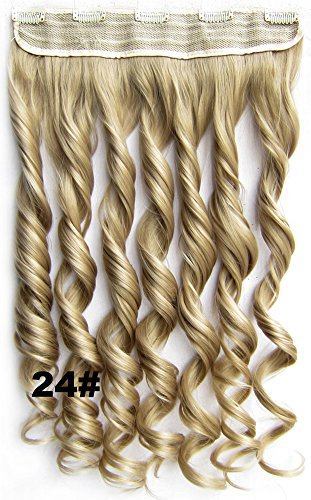 "Btartbox Full Head 5 Clips Synthetic Clip On Hairpiece Hair Extensions 24"" #24 front-81838"