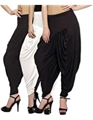 Fashion And Freedom Women's Pack Of 3 White, Brown And Black Viscose Dhoti