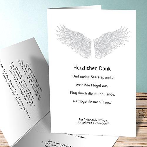 danksagungskarten trauer engelsfl gel 5 karten vertikale. Black Bedroom Furniture Sets. Home Design Ideas