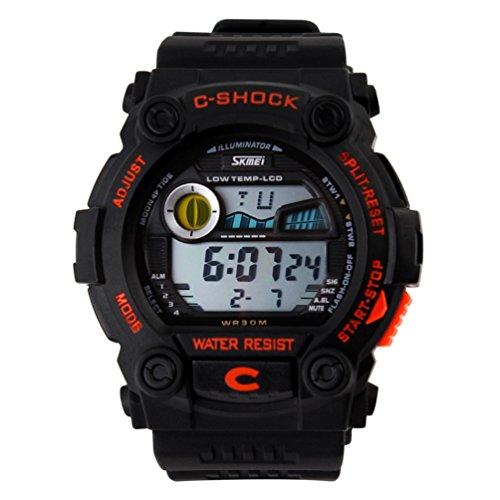 Shot-In Fashion Sports Calendar Waterproof Men Led Digital Electronic Wrist Watch Male - Orange