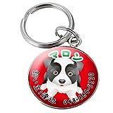 迷子札カラー 犬のイラスト 名入れ 目立つPOPでカラフルなお洒落な迷子札でお散歩が楽しくなる!